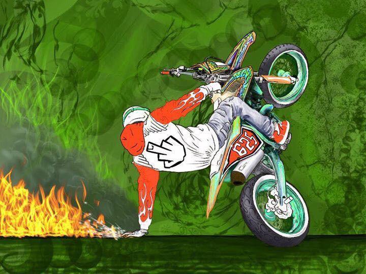 ציור של רוכב על אופנוע מספר 625 בווילי ביד אחת, יד שניה נוגעת בקרקע ומוציאה אש, רקע ירוק