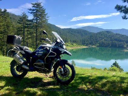 bmw motorcycle, lake view