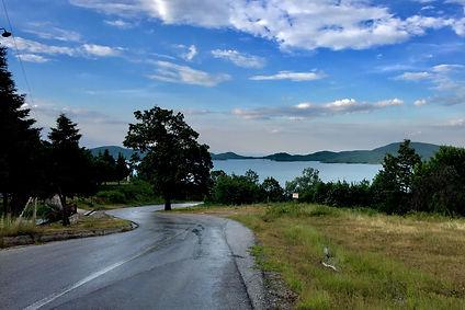 greece, road, lake view