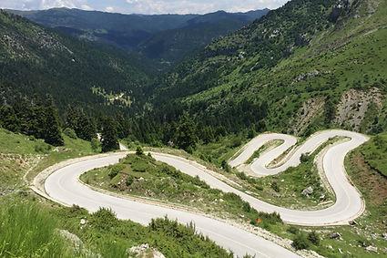 greece, twisty road