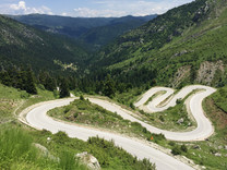 twisty road, greece, mountain view