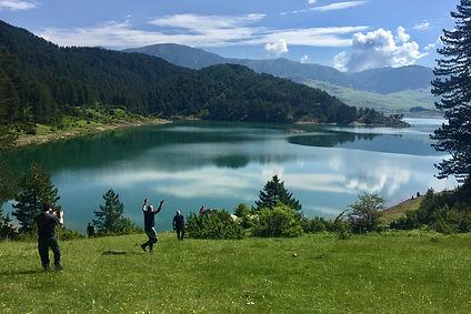 greece, lake, jumping