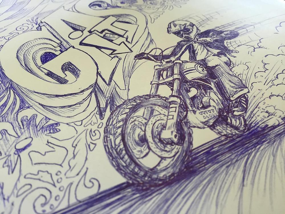 ציור בעט של אופנוע מעלה עשן מהגלגל האחורי וכיתוב GAS IT ברקע