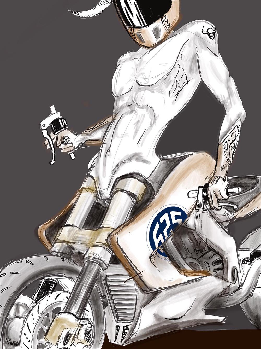 ציור של גוף אדם יוצא מתוך אופנוע