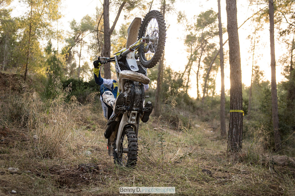 Benny d photography, motorcycle wheelie, trees