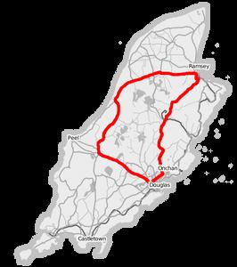 מפת המסלול במירוץ הטוריסט טרופי של האי מאן
