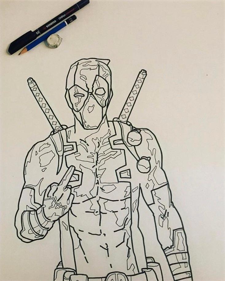 Luca Marchini's drawing illustrating Deadpool