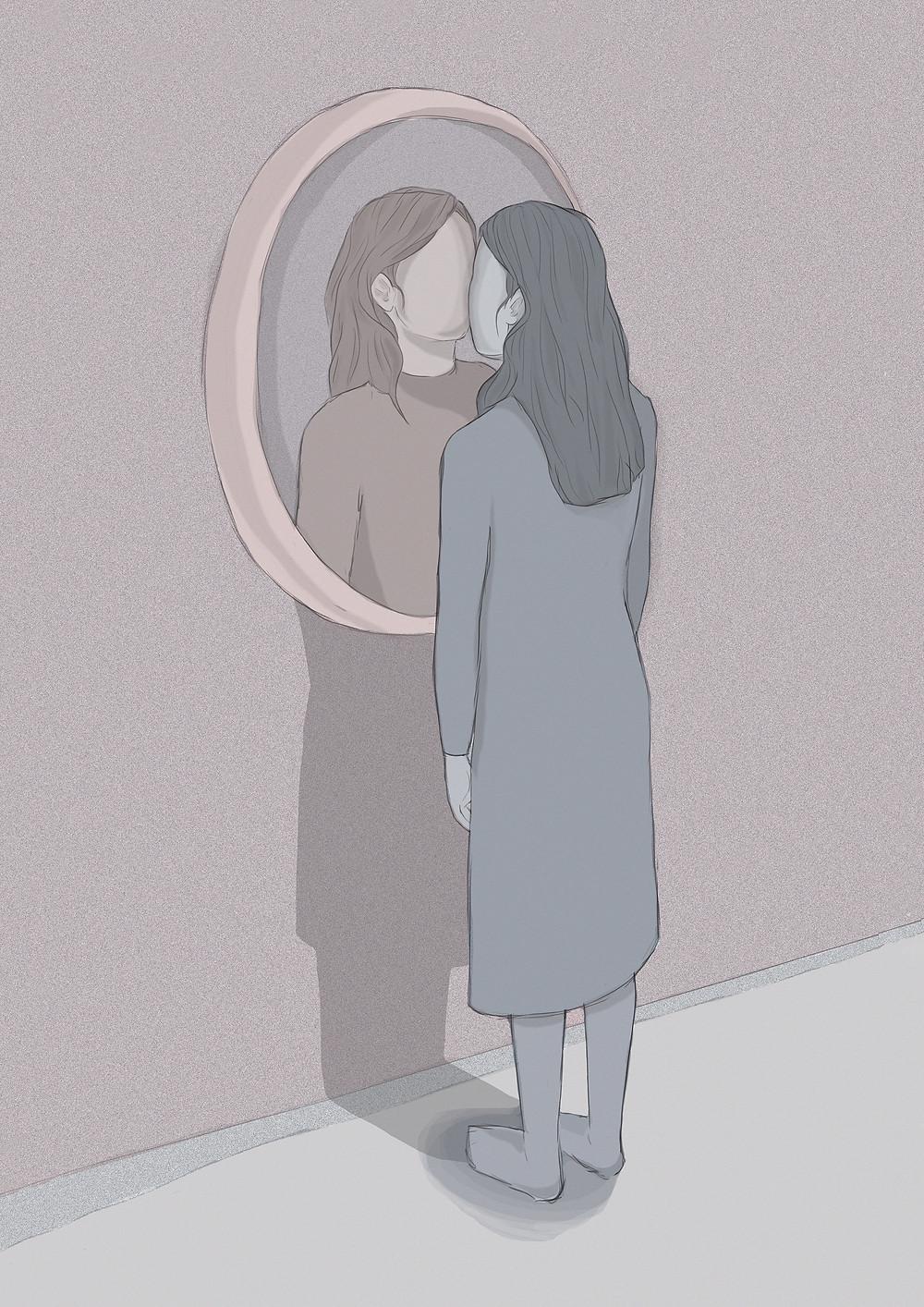 Artist Carlotta Mura's digital illustration of a girl lookin in the mirror