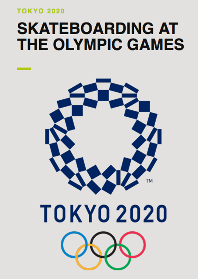 Poster of the 2020 olympics featuring skateboarding