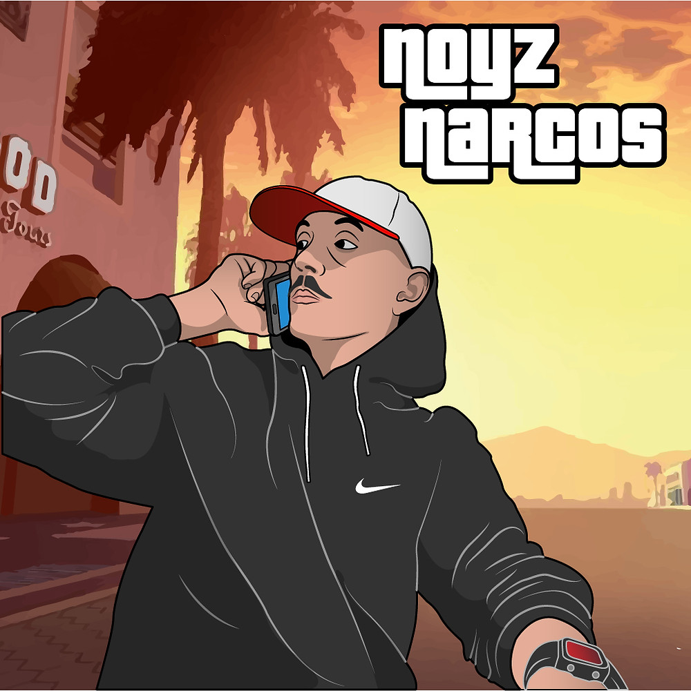 Artist Davide Martino's digital illustration of rapper Noyz narcos with GTA graphic style