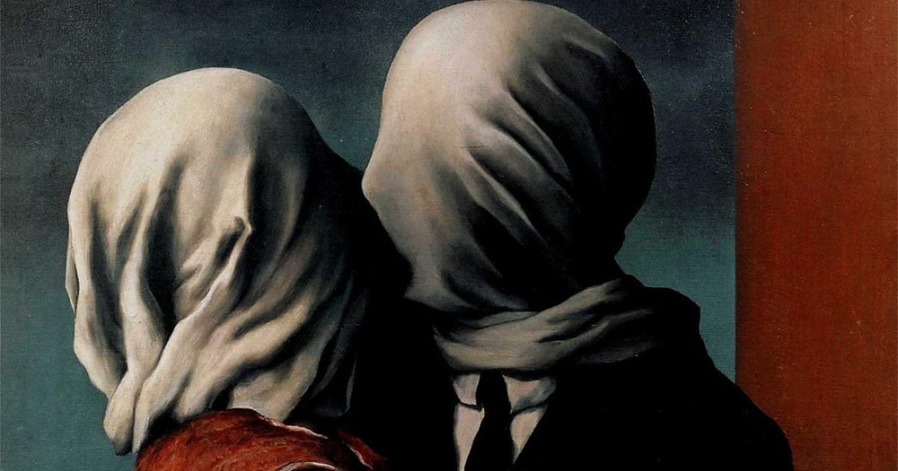 "Surrealistic digital artwork ""Magritte - The Lovers"""