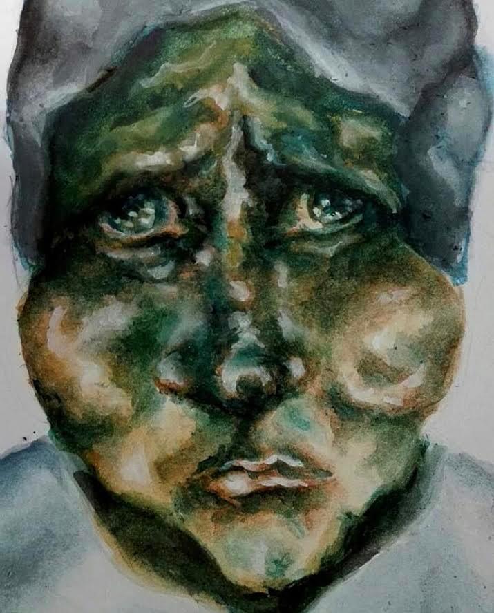 Artist Adalgisa Pecora's portrait of a woman in sorrow