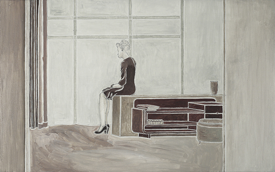 Artist Pietro finelli's drawing of a woman sitting alone
