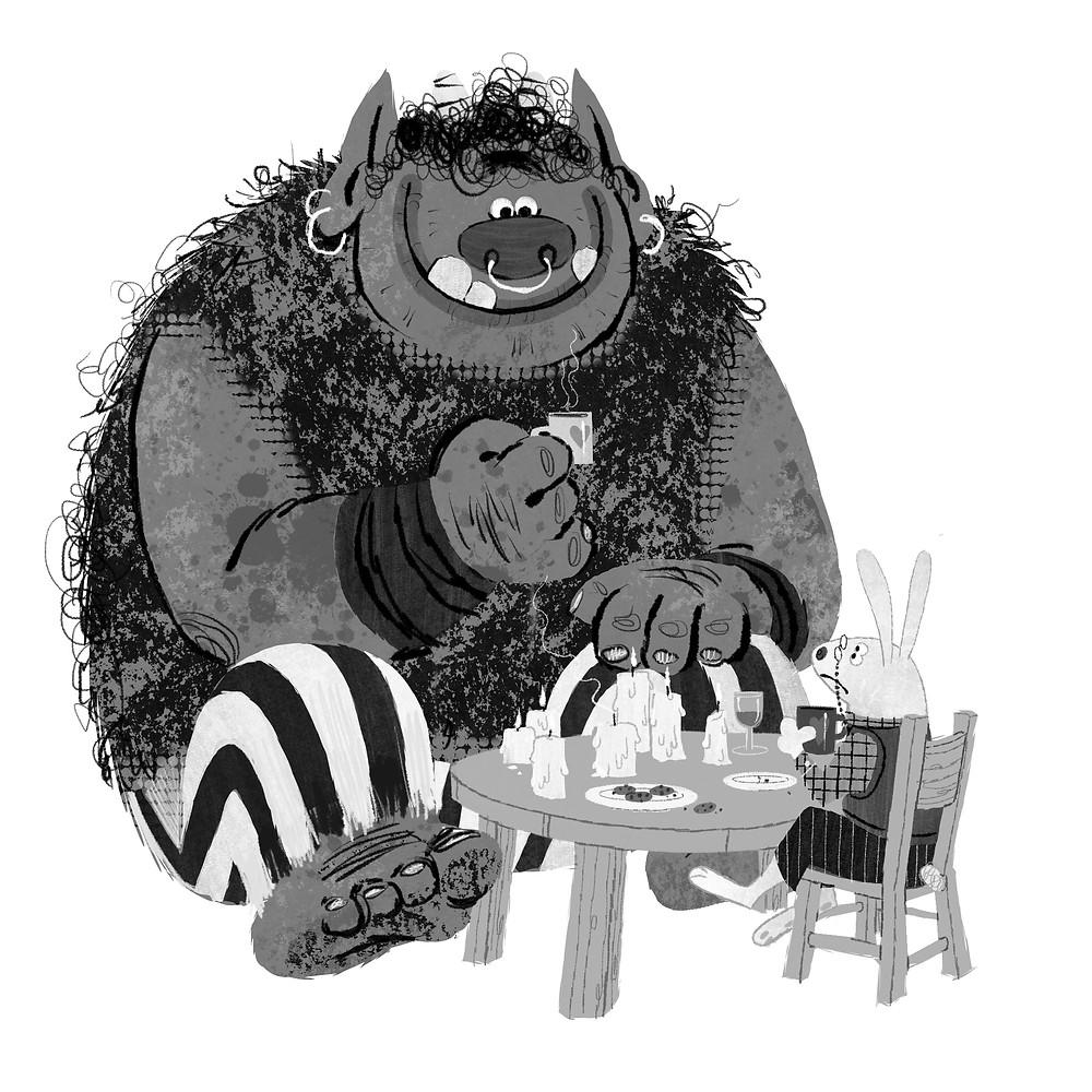 Art director and graphic designer Nicholas olivieri's digital drawing of a monster drinking tea