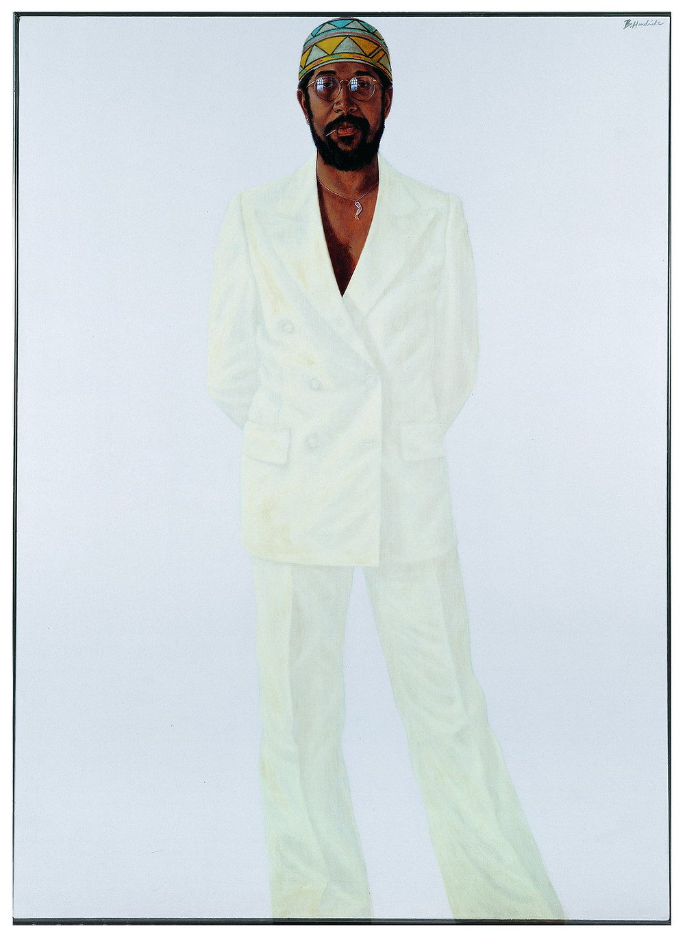 Black artist Barkey L. Hendricks' self portrait wearing a white suit