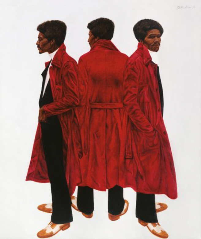 Black artist Barkey L. Hendricks' painting of a black man in a red robe