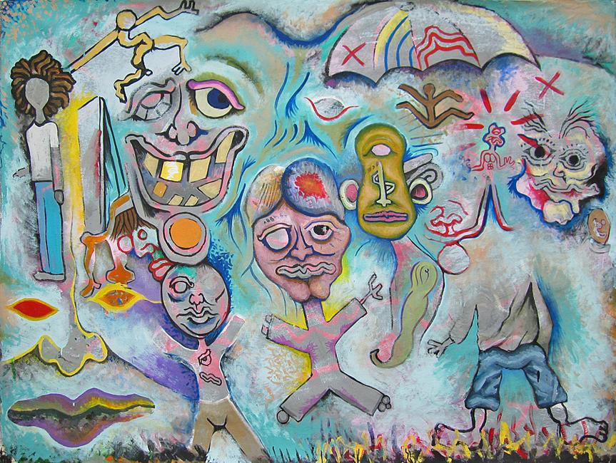 "American artist Andy Golub's artwork ""Hot coals"""