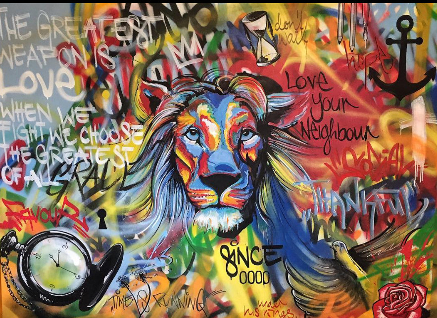 Vierwind artists based in Bern street art of Lion with David Togni