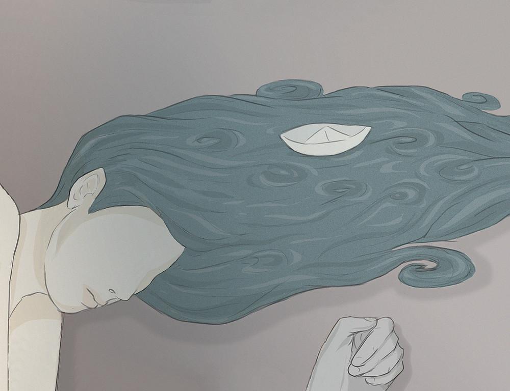 Artist Carlotta Mura's digital illustration of a girl's hair looking like a sea