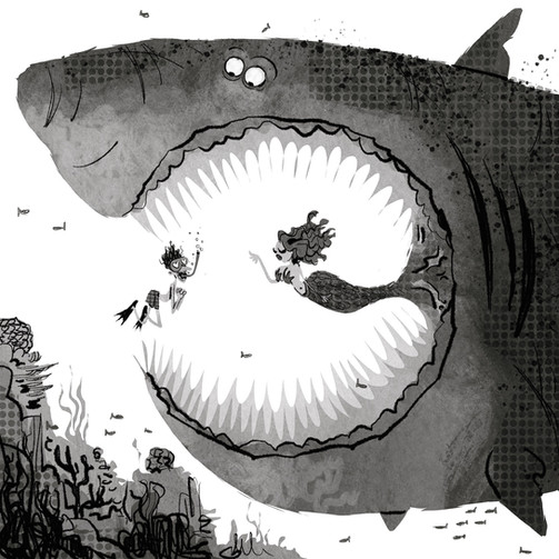 Art director and graphic designer Nicholas olivieri's digital drawing of a man and a mermaid inside a huge shark