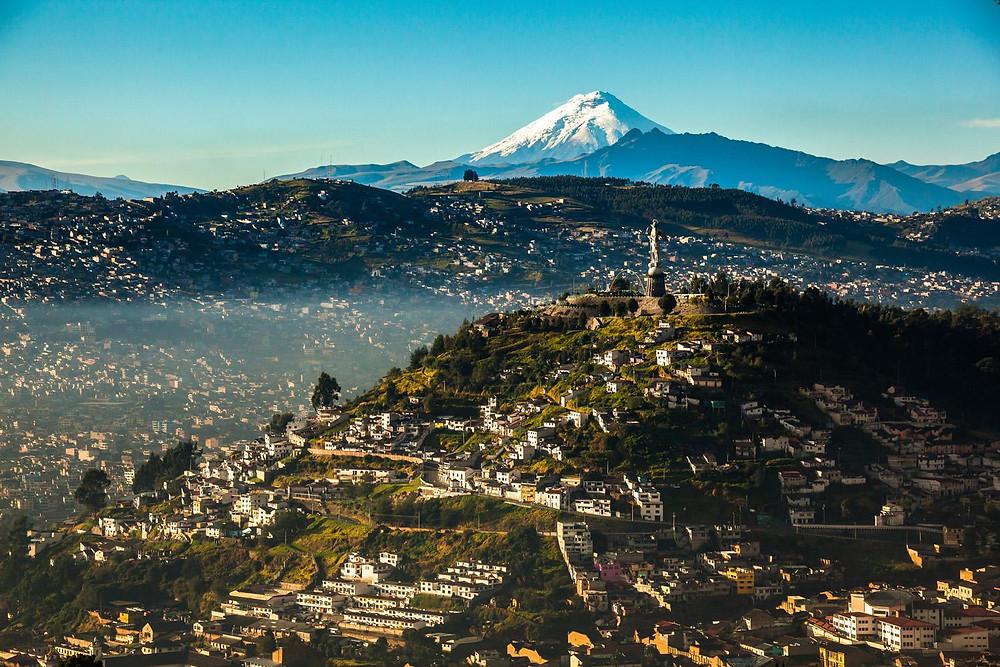 Panoramic view of quito capital of ecuador