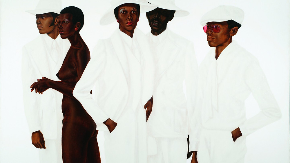 Black artist Barkey L. Hendricks' painting of black people dressed in white