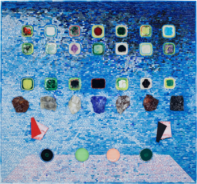 Black artist Jack Whitten's painting of a mobile homescreen
