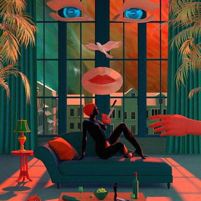 "Amazing work of art by @tishkbarzanji. Color, sensuality, nature and red tones are the main features of every single piece he produces. ""Tishk Barzanji is an artist and observer. He creates spatious architectural sceneries and interiors, snapshots of universal and static neighbourhoods with impossible shadows and staircases, all with substantial emotions hidden in the atmosphere""."