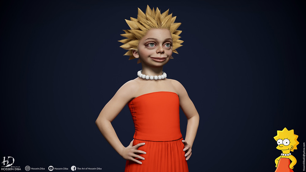 Young artist Hossein Diba's artwork of a 3D Lisa simpson