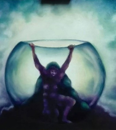 Artist Adalgisa Pecora's painting of a woman getting on her feet