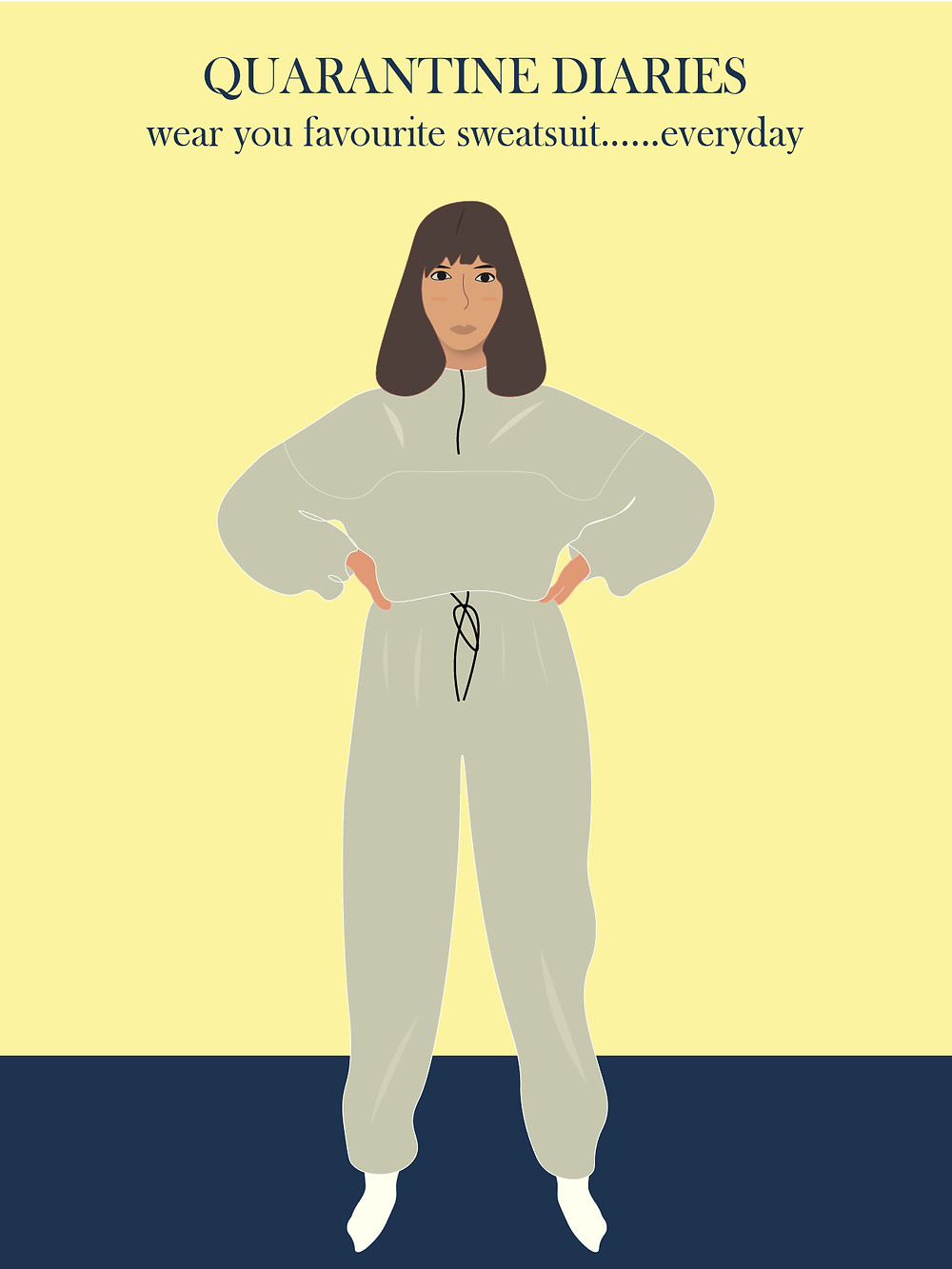 A digital illustration form quarantine diaries about wearing the same sweatsuit everyday