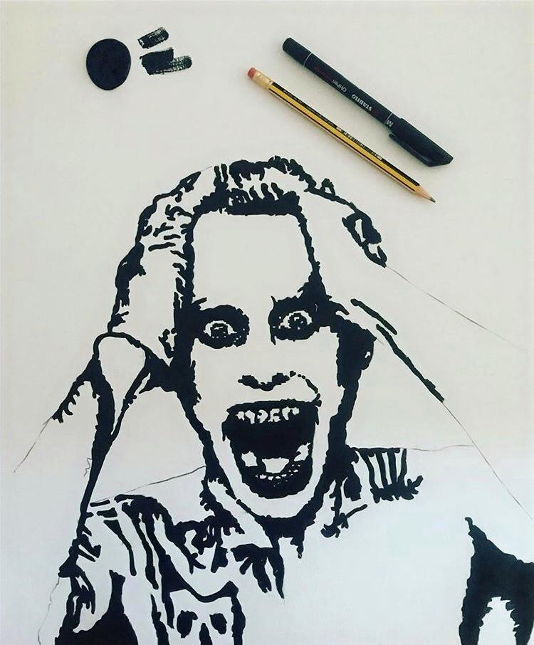 Luca Marchini's drawing illustrating Jared Leto's Joker
