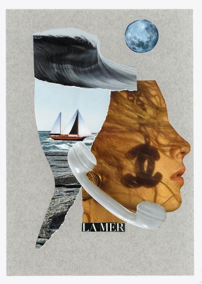 """Artist Carla Gina Rubeo's collage artwork """"la mer"""""""