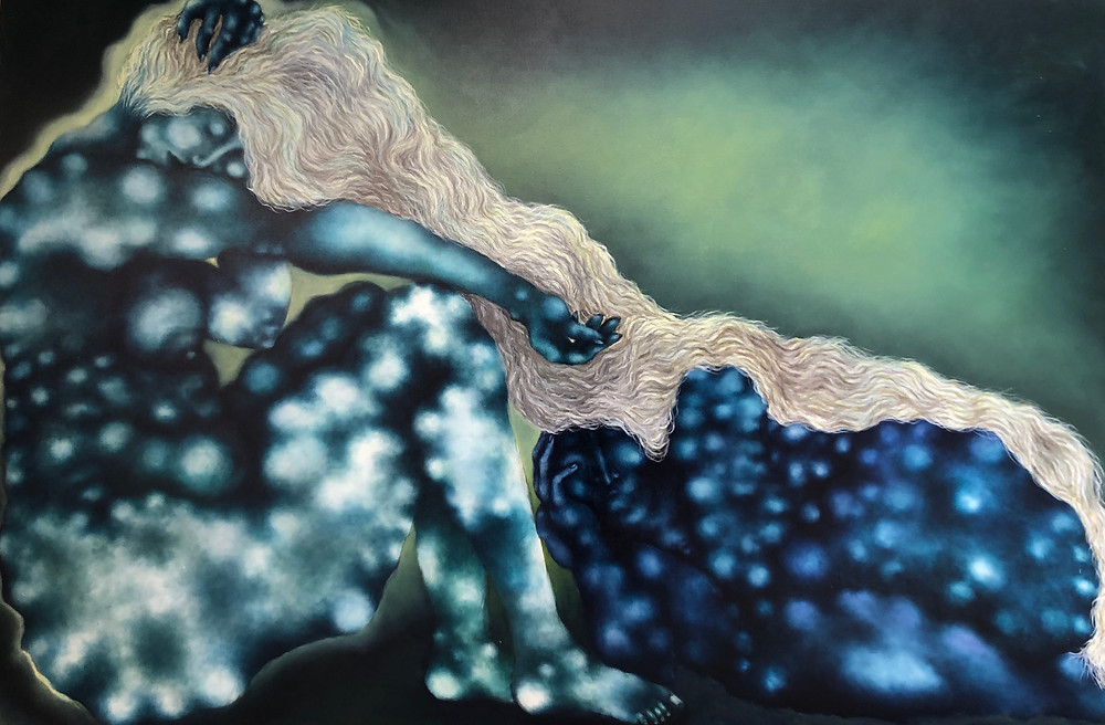 Artist Adalgisa Pecora's painting about a sleeping woman