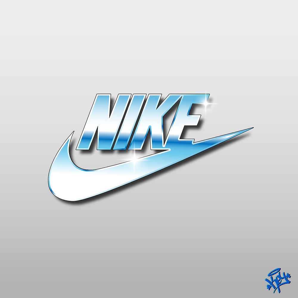 "Artist Davide Martino ""KEY""'s digital illustration of a shiny nike logo"