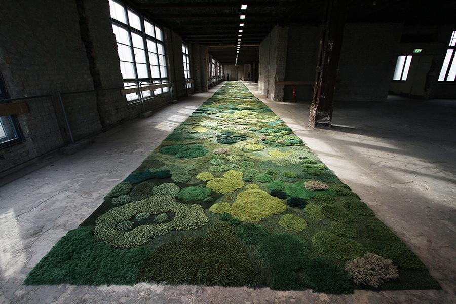 Artist Alexandra Kehayoglou's rug of a forest soil