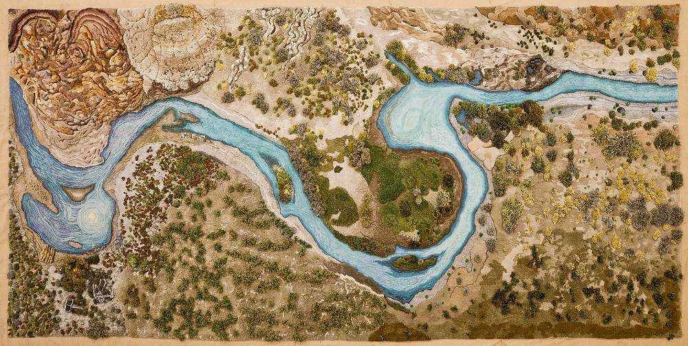 Artist Alexandra Kehayoglou's rug of the santa cruz river