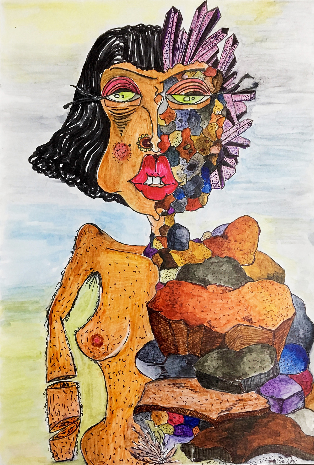 fashion designer and artist Pratiksha Tandon's artwork of a woman struggling