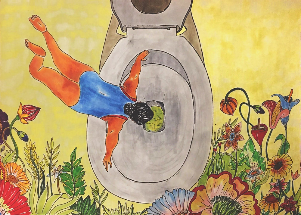 fashion designer and artist Pratiksha Tandon's artwork of a woman falling in the wc