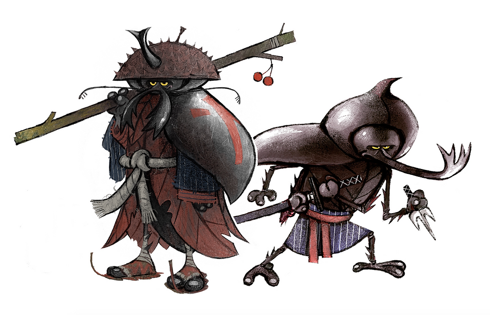 Art director and graphic designer Nicholas olivieri's concept artwork for two samurai beetles