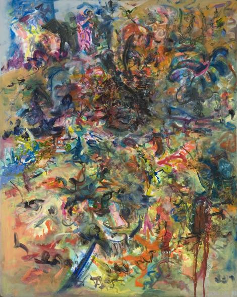 Black artist Jack Whitten's colorful painting