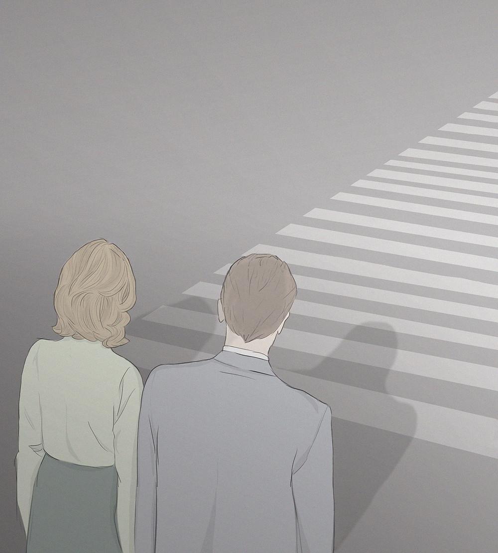 Artist Carlotta Mura's digital illustration of two people walking