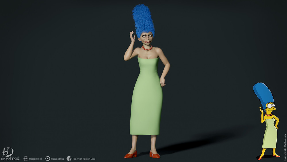 Young artist Hossein Diba's artwork of a 3D marge simpson