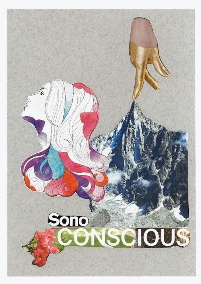"Artist Carla Gina Rubeo's collage ""sono conscious"""