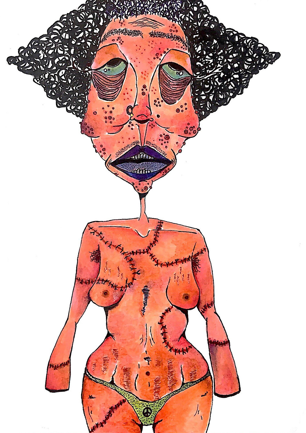 fashion designer and artist Pratiksha Tandon's artwork of a suffering woman
