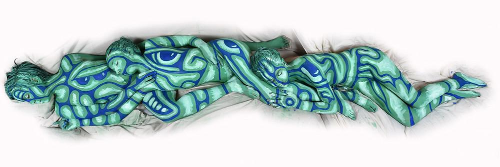 "American artist Andy Golub's artwork ""snake"""