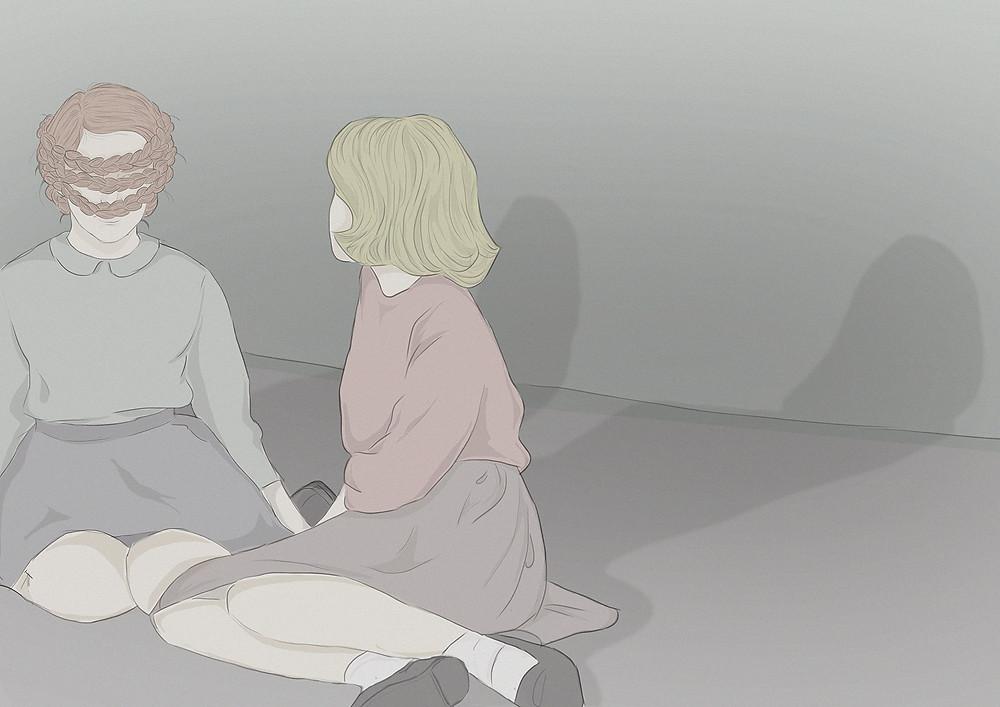 Artist Carlotta Mura's digital illustration of two girls sitting on the floor