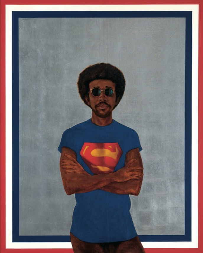 Black artist Barkey L. Hendricks' self portrait with a superman t-shirt