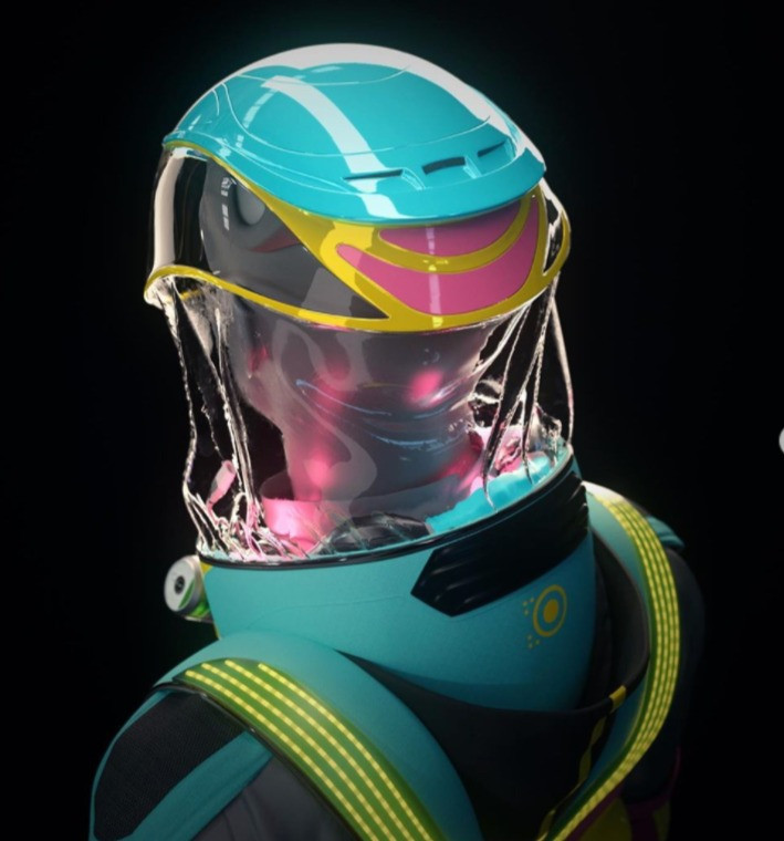 Concept art for the micrashell antivirus suit showing the back of the helmet