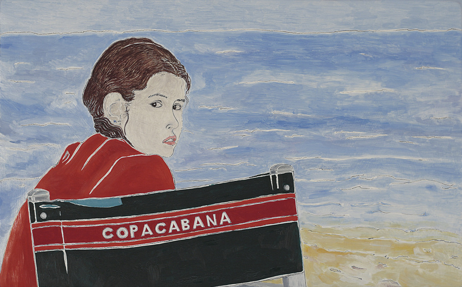 Artist Pietro finelli's drawing of a girl at copacabana sea